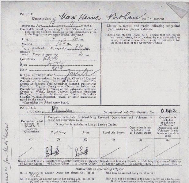 Max Heinz Nathan - Enlistment form, Part II (top half)