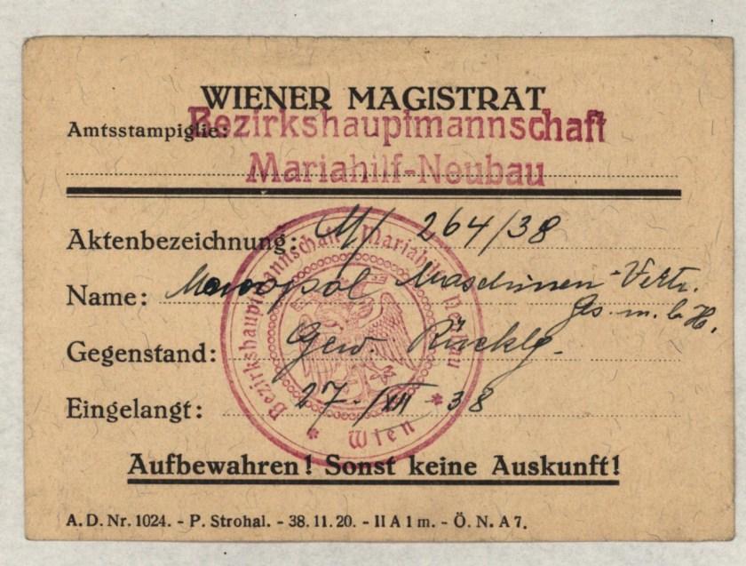 Kitchener camp, Eduard Elias, Vienna magistrate