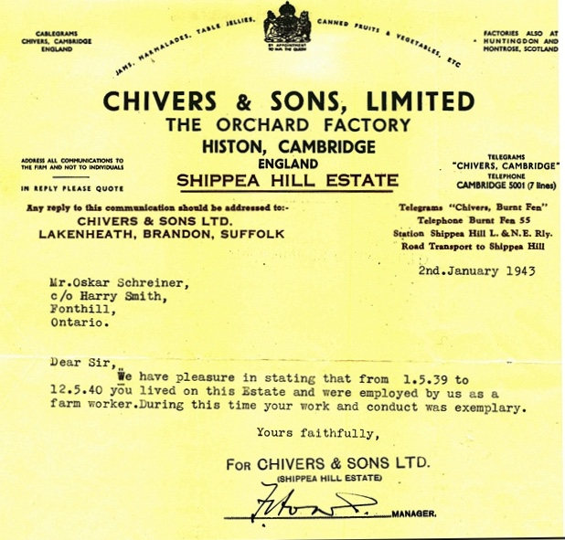 Oskar Schreiner, Reference, Chivers and Sons Ltd, 2 January 1943