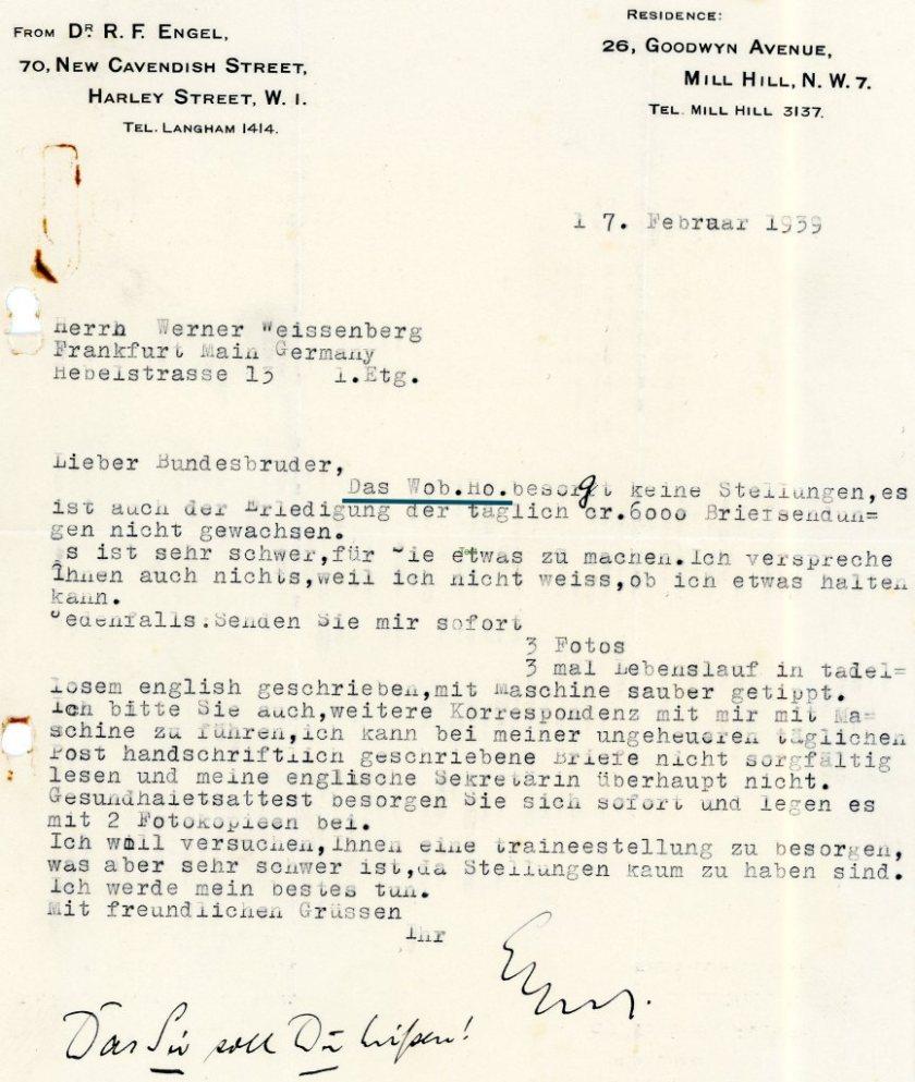 Kitchener camp, letter, 17 February 1939, Woburn House
