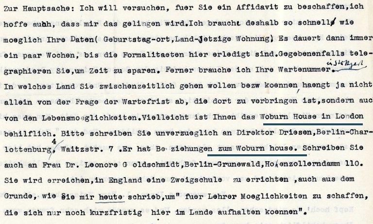 Richborough transit camp, Letter, 6 March 1939, Woburn House