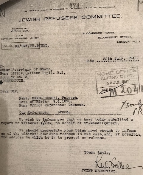 Bloomsbury House, Peisech Mendzigurski, 25 July 1941