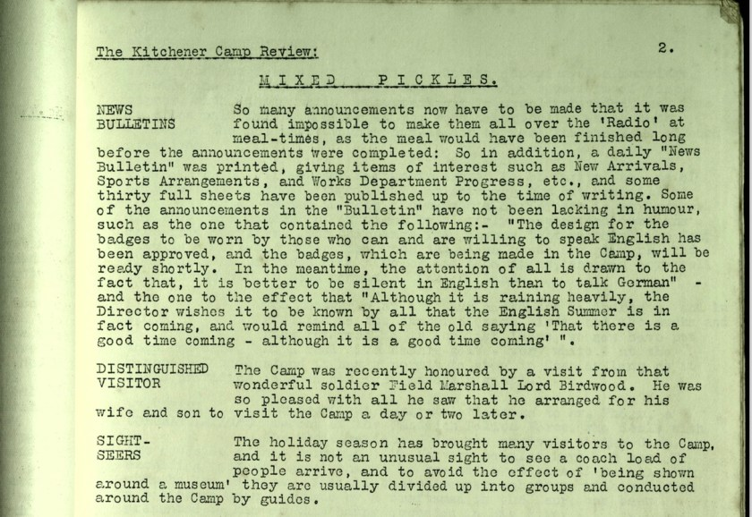 Kitchener Camp Review, no. 7, September 1939, page 2, top