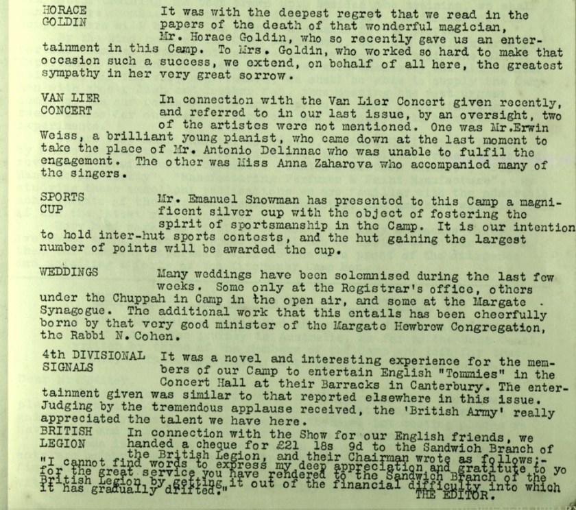 Kitchener Camp Review, no. 7, September 1939, page 3, base