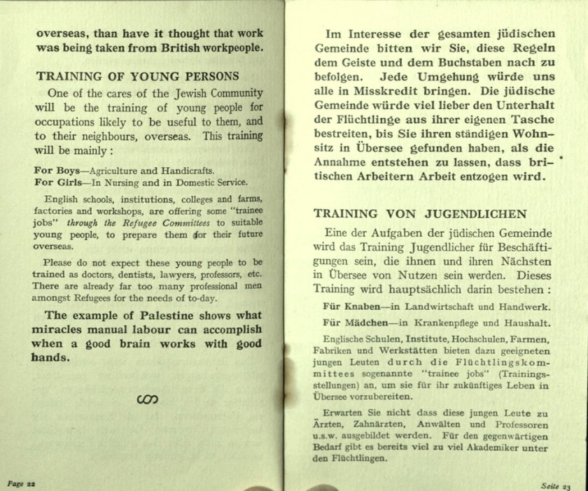 Kitchener camp, Wolfgang Priester, German Jewish Aid Committee, Bloomsbury House, Jewish Board of Deputies, Woburn House, Guidance to all Refugees, pages 22 and 23