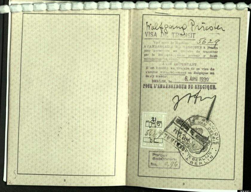 Wolfgang Priester, Reisepass, Deutsches Reich, Document, German passport, Visa de Transit, 6 April 1939