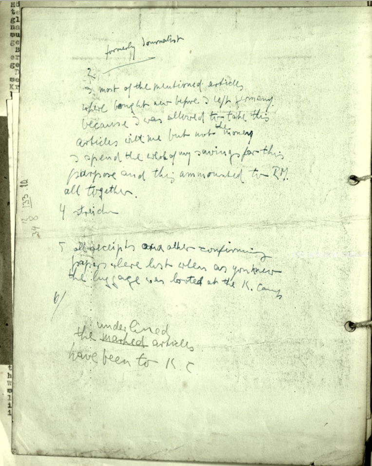 Richborough camp, Wolfgang Priester, Document, List of items, 74 Company, Pioneer Corps, reverse
