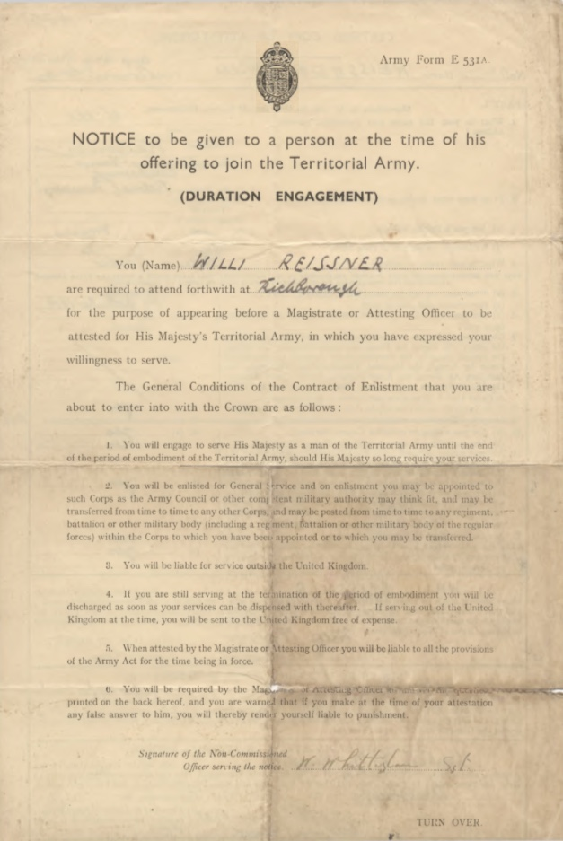 Will Reissner, Army Form E531A, Richborough, nd