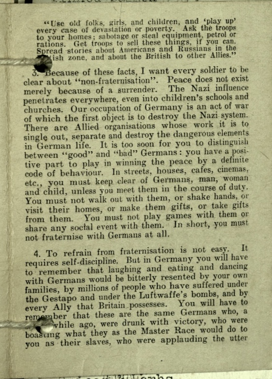 Wolfgang Priester, Pioneer Corps, Pamphlet by the Commander-in-Chief on Non-Fraternisation, page 3, March 1945