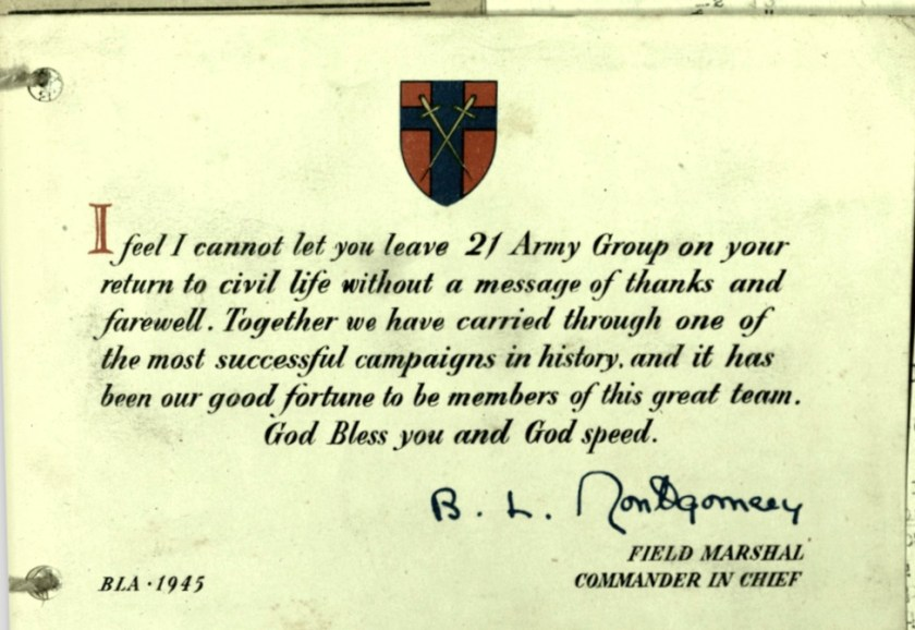 Wolfgang priester, Pioneer Corps, Card 1945, Field Marshal B L Mongomery. leaving 21 Army Group, Return to civil life, thanks, front, nd