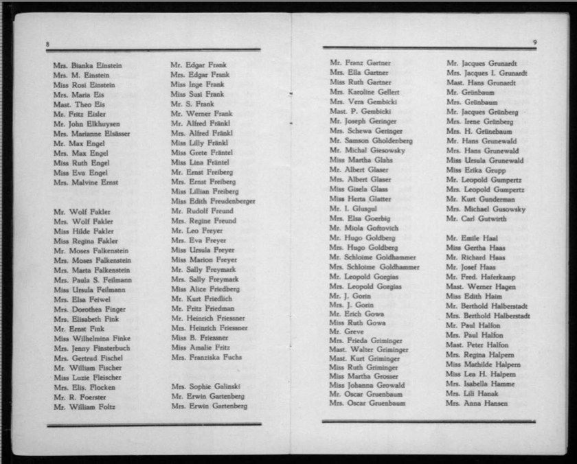 Kitchener camp, Werner Gembicki, Document, List of Passengers from Rotterdam to New York, 22 November 1939, pages 8 to 9