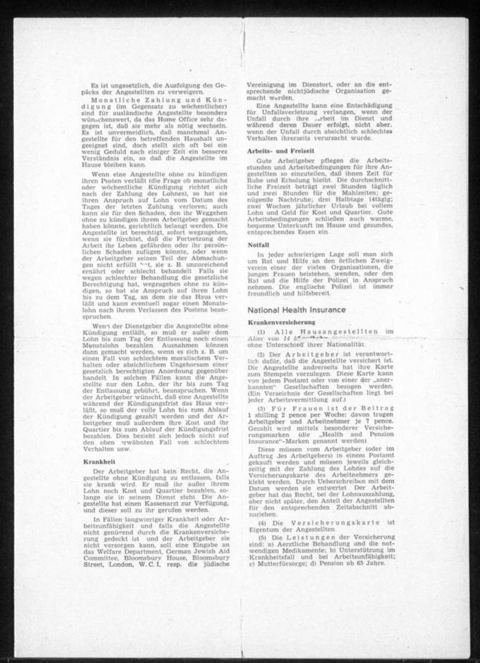 Kitchener camp, Document, Hut 36/II, Werner Gembicki, Wife Vera, Domestic Service Visa, Als Hausangestelte in England, page 3