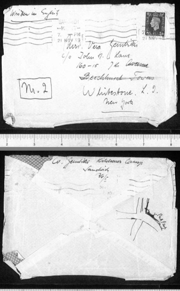 Kitchener camp, Werner Gembicki, Envelope, 21 November 1939
