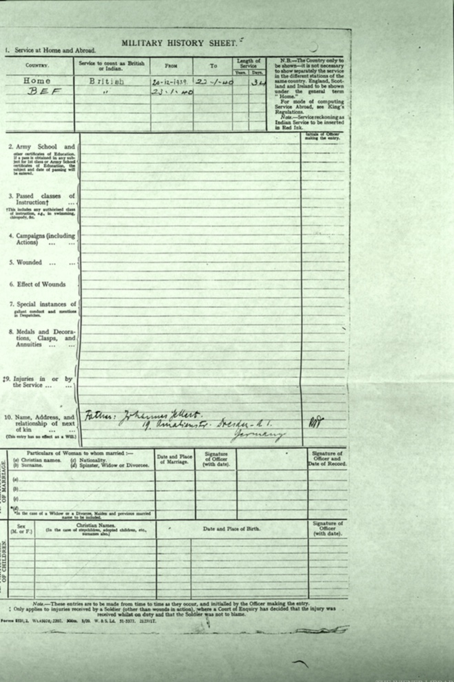 Kitchener camp, Martin Gellert, Document, Attestation, Auxiliary Millitary Pioneer Corps, Military History Sheet, British Expeditionary Force (BEF), 23 January 1940