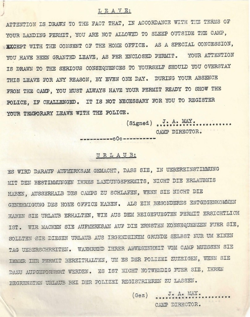 Kitchener camp, Manele Spielmann, Letter, Terms of Leave, Jonas May, Camp Director