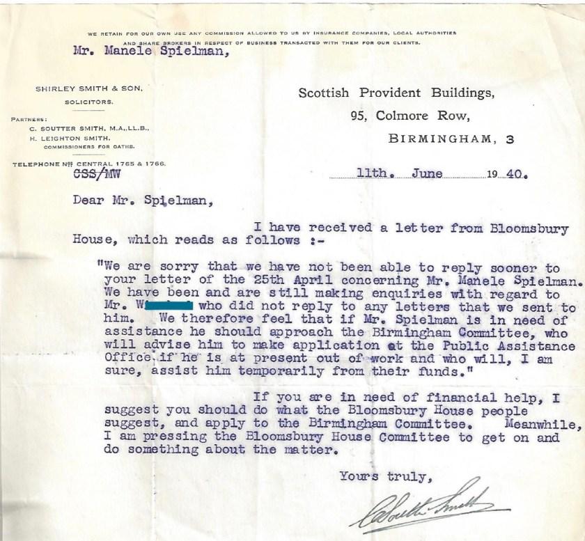 Kitchener camp, Manele Spielmann, letter, Solicitor, Bloomsbury House, Public Assistance Office, Funding assistance, 11 June 1939