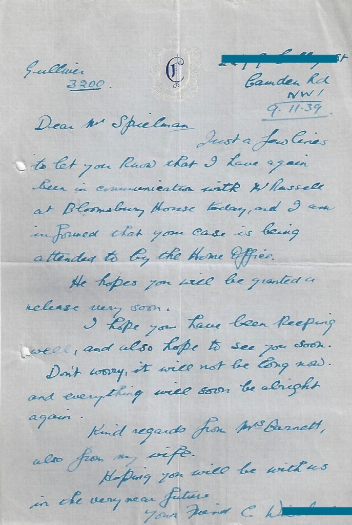 Kitchener camp, Manele Spielmann, Home Office, Bloomsbury House, assurance of release soon, 9 November 1939