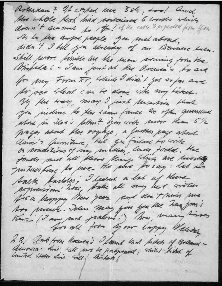 Werner Gembicki, Letter, Kitchener camp Hut 19/II, Family post has finally arrived, 17 December 1939, page 4