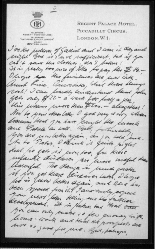 Werner Gembicki, Kitchener camp, Letter, Family illnesses in USA, page 3