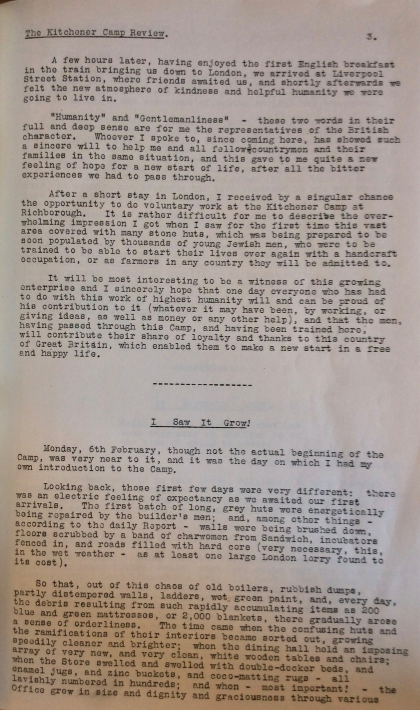 Kitchener Camp Review, No. 1, March 1939, page 3