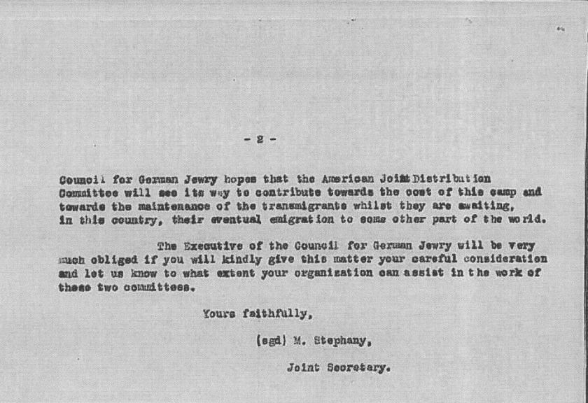 Kitchener camp, The JDC, Council for German Jewry, Letter, Contribution sought from JDC, M Stephany, 8 January 1939, page 2