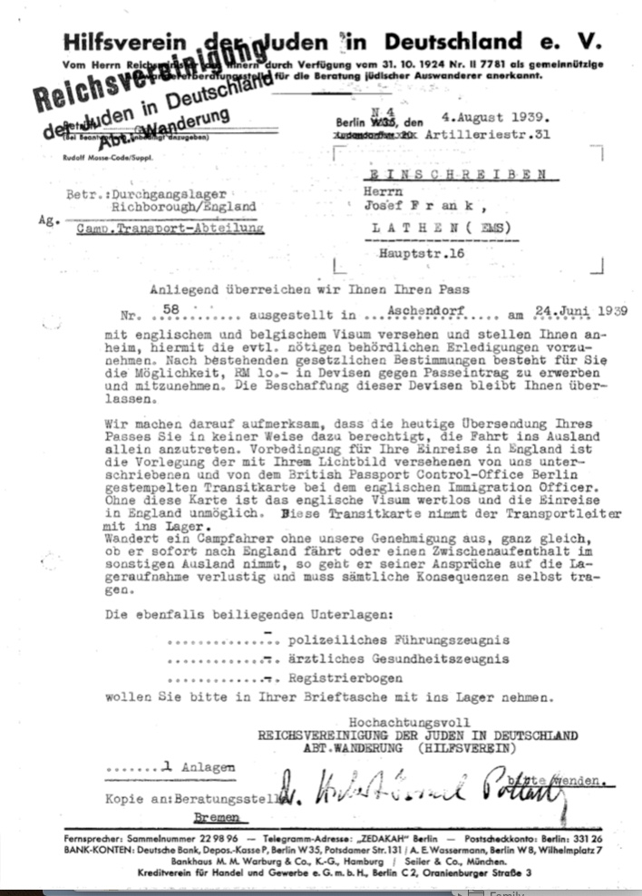 Kitchener camp, Josef Frank, Letter, Hilfsverein der Juden in Deutschland, transport to camp, 4 August 1939, page 1