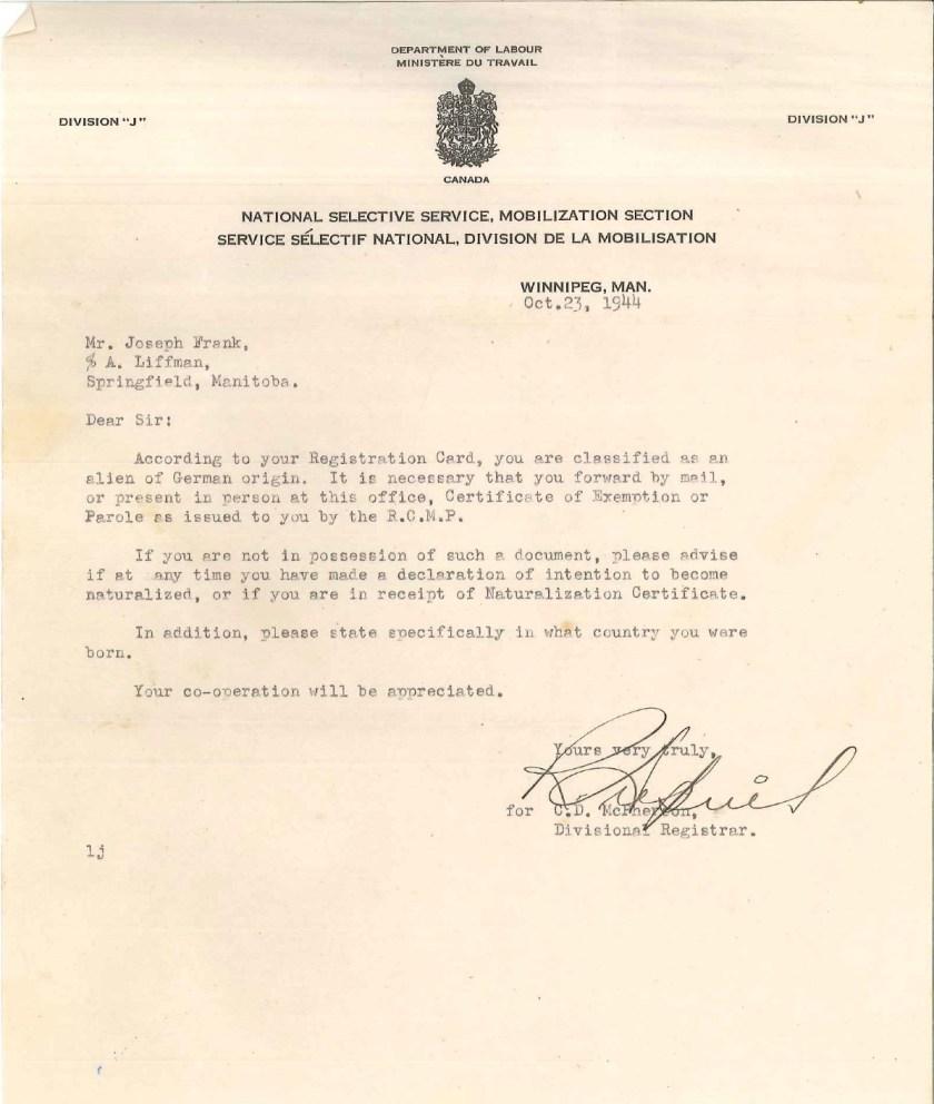 Kitchener camp, Josef Frank, Letter, Department of Labor, Division J, Alien of German Origin, 23 October 1944