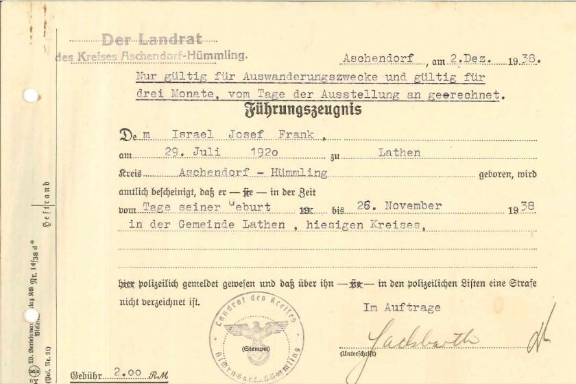 Kitchener camp, Josef Frank, Führungszeugnis, Management certificate for taxes paid, 2 December 1938