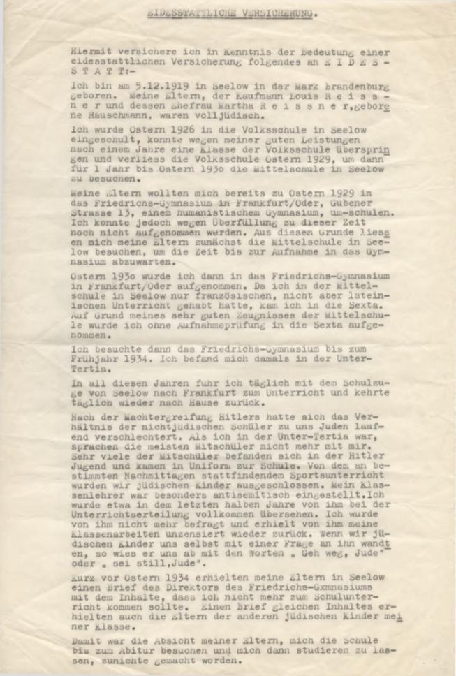 Kitchener camp, Willi Reissner, Eidesstattliche Versicherung, Conditions in Germany, 20 July 1957, page 1
