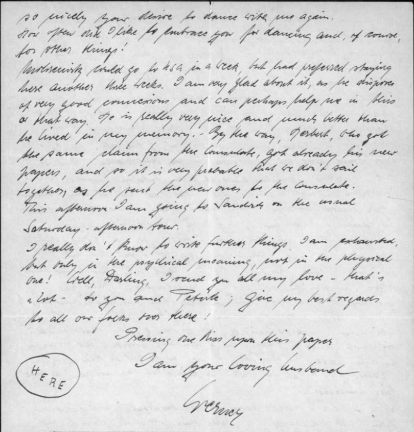 Kitchener camp, Werner Gembicki, Letter, Mohrenwitz could go to USA in a week, but had proferred staying here another three weeks, I am very glad about it as he (?) of very good connexions and can perhaps help me in this or that way. He is really very nice ... By the way, Herbert, who got the same claim from the Consulate, got already his new papers, and so it is very probable that we don't sail together, as he sent the new ones to the Consulate. This afternoon I am going to Sandwich on the usual Saturday afternoon tour, 2 March 1940, page 4