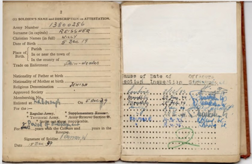 Kitchener camp, Willi Reissner, Army Book 64, Soldier's Service Pay Book, Pioneer Corps, Richborough, Soldier's description 15 December 1939, pages 9 and 10 over flap