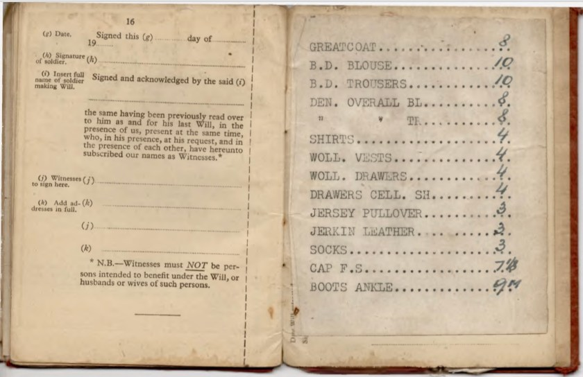 Kitchener camp, Willi Reissner, Army Book 64, Soldier's Service Pay Book, Pioneer Corps, Richborough, Will, Uniform list, pages 23 and 24