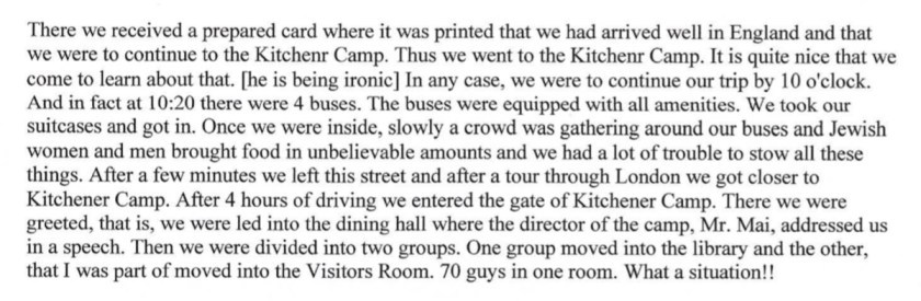 Kitchener camp, Diary, Gerhard Wolf, Berlin ORT, page 1