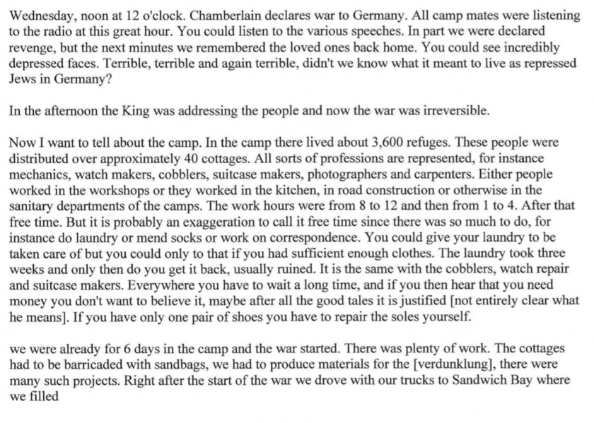 Kitchener camp, Diary, Gerhard Wolf, Berlin ORT, page 3