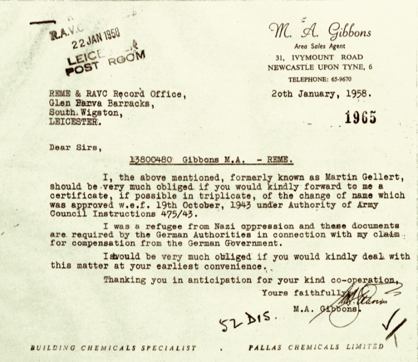 Kitchener camp, Martin Gellert, Letter, RMEM and RAVC Recprd Office, Gibbons, Change of name approval request, Refugee from Nazi oppression, Compensation claim, 20 January 1958