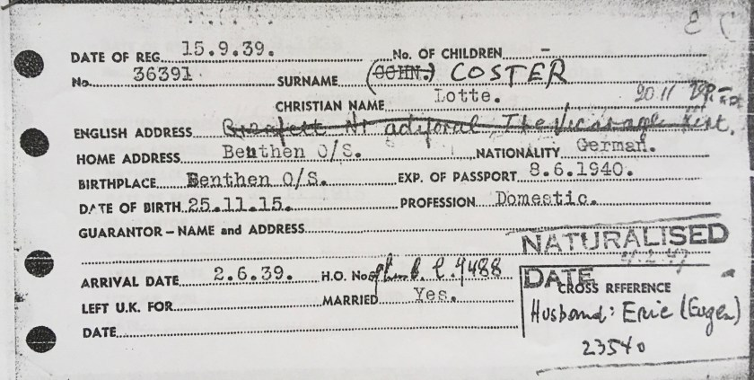 Kitchener camp, Eugen Cohn, Wife Lotte Coster, Beuthen, Domestic, Arrival in Britain card, 2nd June 1939. Source: World Jewish Relief