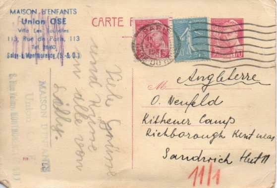 Kitchener camp, Richborough, Otto Neufeld, Postcard, Hut 11/1 Maison Enfants, Union OSE, Paris