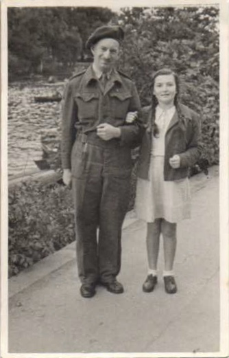 Kitchener camp, Otto Neufeld, Pioneer Corps, September 1945 Otto was reunited with his daughter Lilli after the war