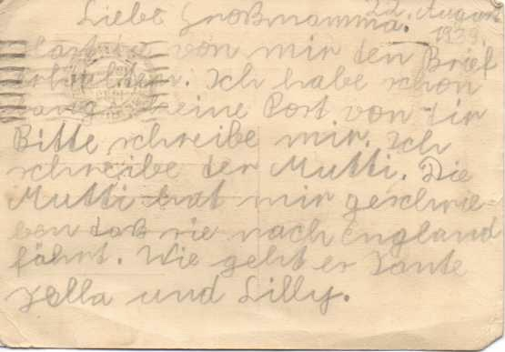 Kitchener camp, Otto Neufeld, Postcard – from Lilli to her grandmother (Otto's mother), Karoline Neufeld – 22nd August 1939