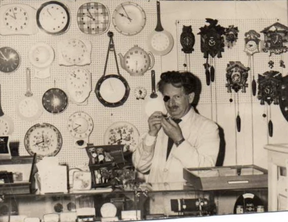 Otto Neufeld in 1959 in his jewellery/watch shop, opened after the war