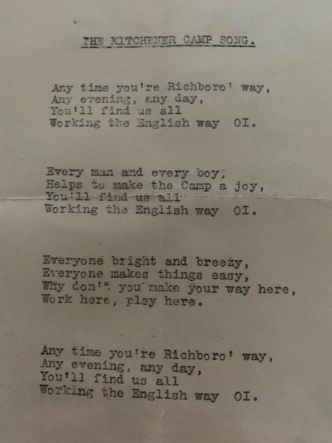 Karl Reiser, Copy of the Kitchener camp song