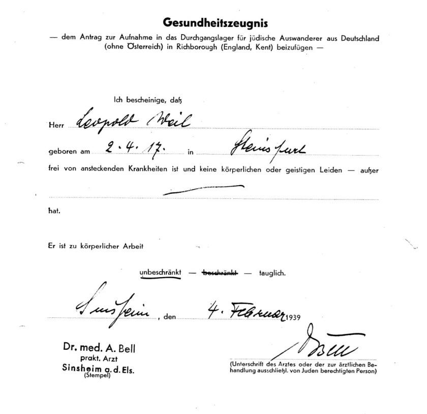 Richborough transit camp, Leopold Weil, Health certificate, 4 February 1939