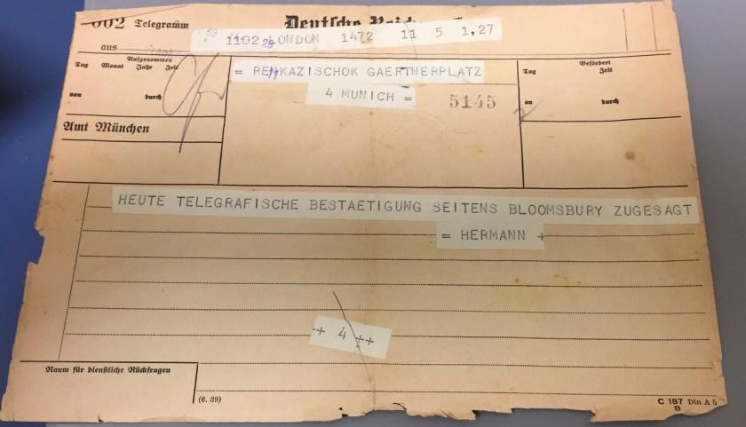 Kitchener camp, Hermann Renkazischock, Telegramm, Summer 1939