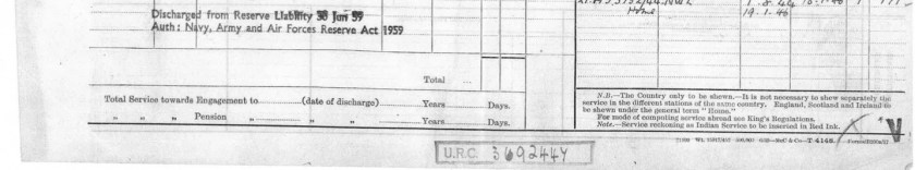 Kitchener camp, Max Metzger, Pioneer Corps, Army Form B200B, NRIC, DIRE/10/190, Enlisted at Richborough, End of service 19 January 1946, Discharged 10 February 1954 (bottom of previous page)