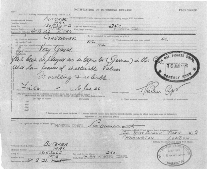 """Kitchener camp, Richborough, Max Metzger, Pioneer Corps, Notification of impending release, 114 Company, """"Has been employed as interpreter (German) in this Company and has proved of inestimable value. Is willing & reliable"""", 16 January 1946"""