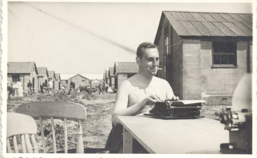 Kitchener camp, Richborough, Franz Schanzer, With typewriter