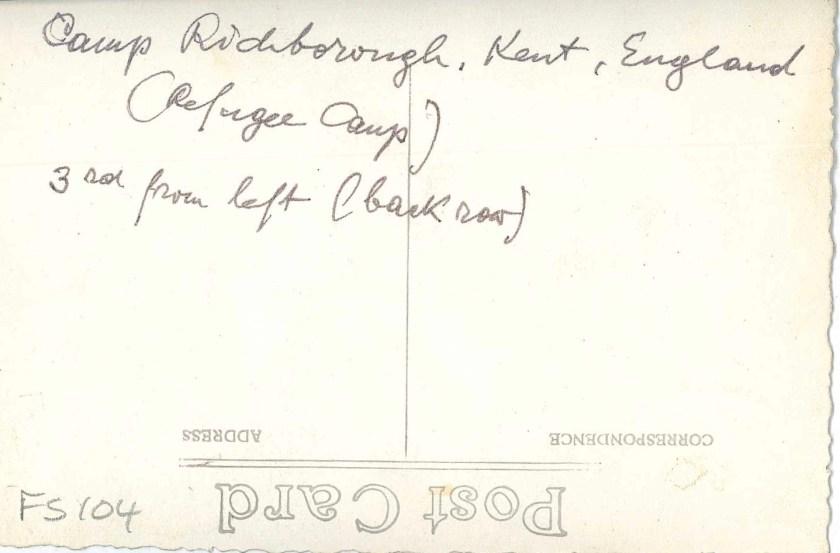 Kitchener camp, Richborough, Franz Schanzer, Third from the left, reverse