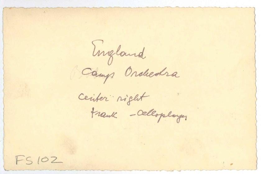 Kitchener camp, Richborough, Franz Schanzer, With cello, Centre right, reverse
