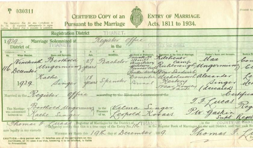 Kitchener camp, Berthold Ungermünz, Kathe Singer, Marriage certificate, Thanet 1939