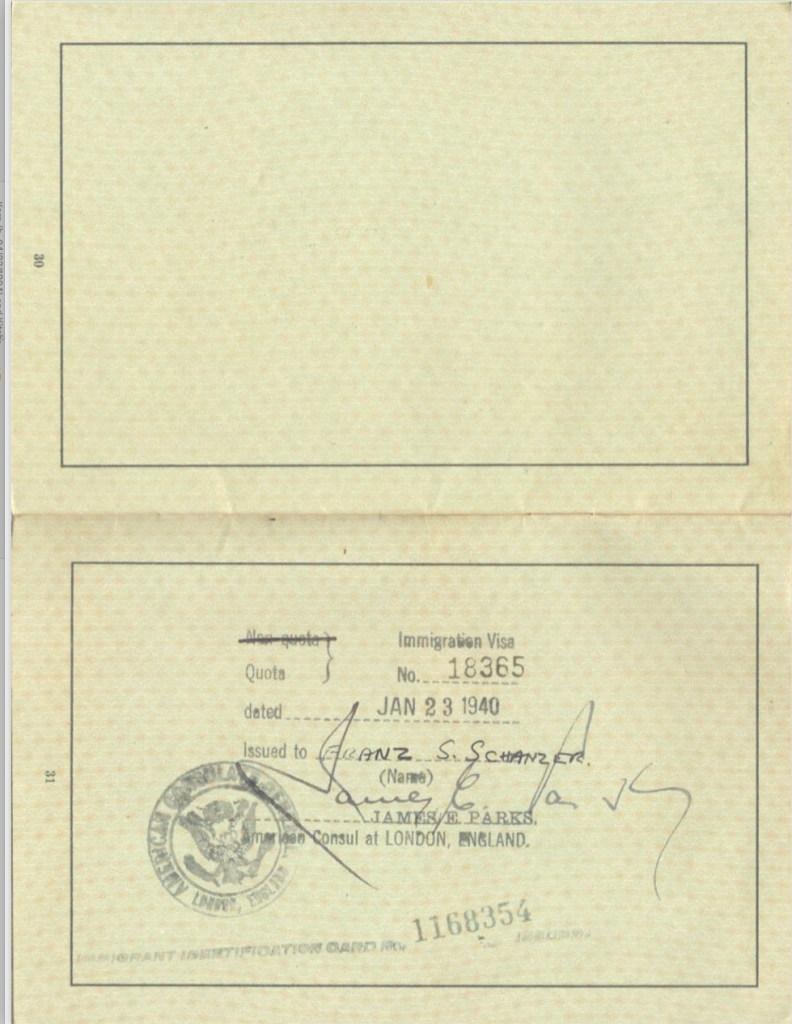 Kitchener camp, Frank Schanzer, German passport, Immigration visa no. 18365, 23 January 1940, James E. Parks, American Consul, London